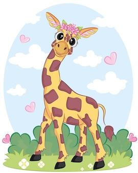 Illustration plate d'une girafe.