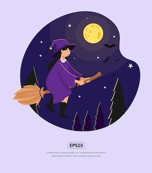 Illustration plate, halloween avec balai volant de sorcière, pour le web de conception, l'application, l'infographie, l'impression, etc.