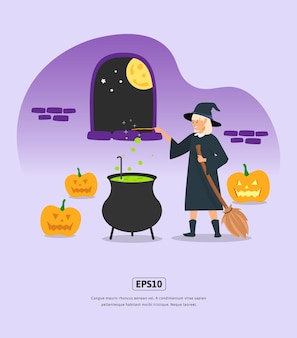 Illustration plate halloween avec la sorcière cultive des potions pour l'impression infographique de l'application web de conception