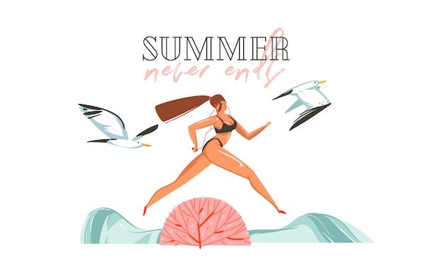 Illustration plate de l'heure d'été de dessin animé graphique dessiné à la main imprimer avec la fille en cours d'exécution et les goélands sur la scène de la plage et l'été ne se termine jamais citation de typographie isolée