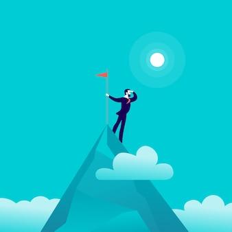 Illustration plate avec un homme d'affaires debout au sommet du sommet de la montagne tenant un drapeau