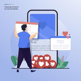 Illustration plate d'un homme publiant du contenu sur le concept de médias sociaux