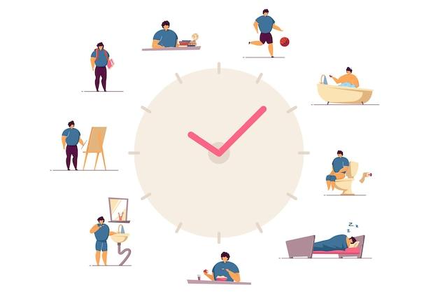 Illustration plate d'horloges de routine quotidienne de garçon heureux