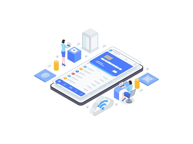 Illustration plate isométrique de la banque numérique. convient pour les applications mobiles, les sites web, les bannières, les diagrammes, les infographies et autres éléments graphiques.