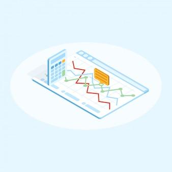 Illustration plate isométrique de la calculatrice et du graphique dans le navigateur. concept de design financier