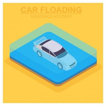 Illustration de plate isométrique voiture accident concept vectoriel