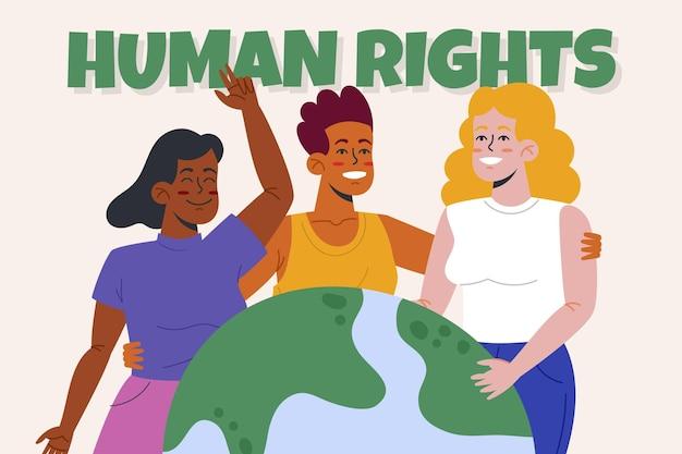 Illustration plate de la journée internationale des droits de l'homme dessinée à la main avec des personnes et un globe