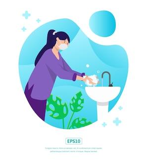 Illustration plate, journée mondiale du lavage des mains, peut être utilisée pour le web, l'application, l'impression, l'infographie, etc.