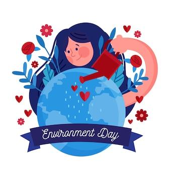 Illustration plate de la journée mondiale de l'environnement