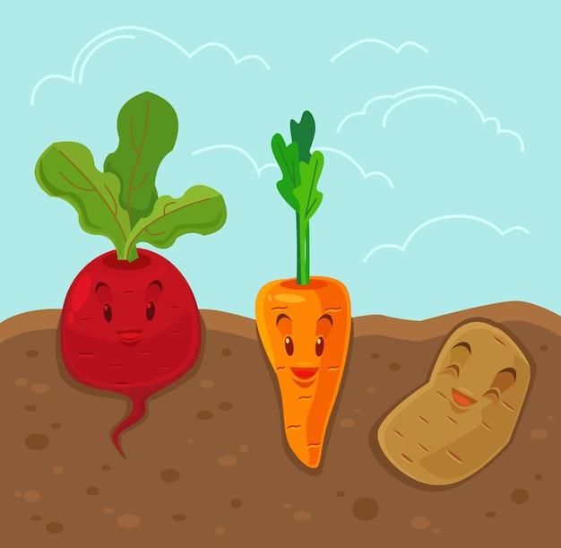 Illustration plate de légumes drôles de dessin animé