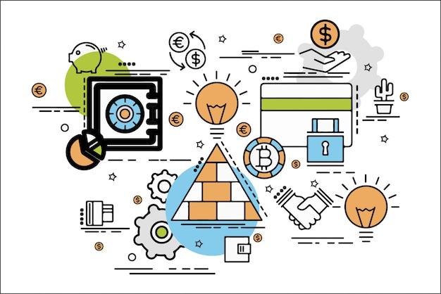 Illustration plate linéaire définie des éléments de la finance d'entreprise
