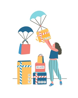 Illustration plate de livraison express moderne