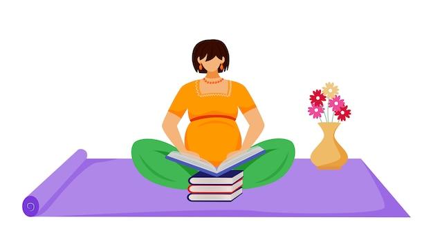 Illustration plate de livre de lecture de femme enceinte. apprentissage, préparation à la maternité. femme enceinte assise sur le sol avec une pile de personnages de dessin animé de livres sur fond blanc