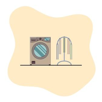 Illustration plate de machine à laver moderne
