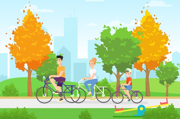Illustration plate des membres de la famille à vélo. reposez-vous ensemble, mode de vie sain, marche d'automne, concept d'activité de vacances. personnages de famille de sport de dessin animé. activités de vacances, idée de balade en ville.