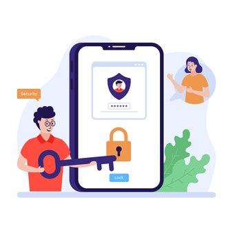 Une illustration plate à la mode d'une sécurité de compte