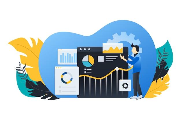 Illustration plate moderne d'analyse de données