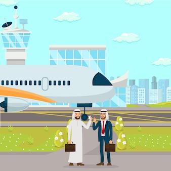 Illustration de plate négociation de partenariat d'affaires
