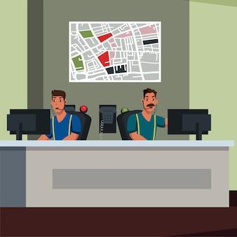Illustration plate des opérateurs de services d'urgence