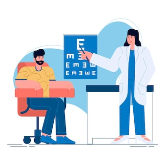 Illustration plate d'optométriste visite médicale