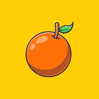 Illustration plate d'orange mûre entière juteuse.