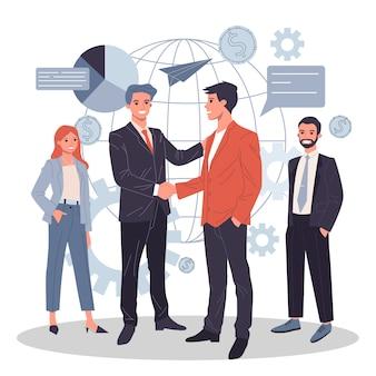 Illustration plate de partenariat commercial mondial