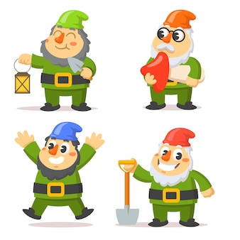 Illustration plate de personnages drôles de gnome