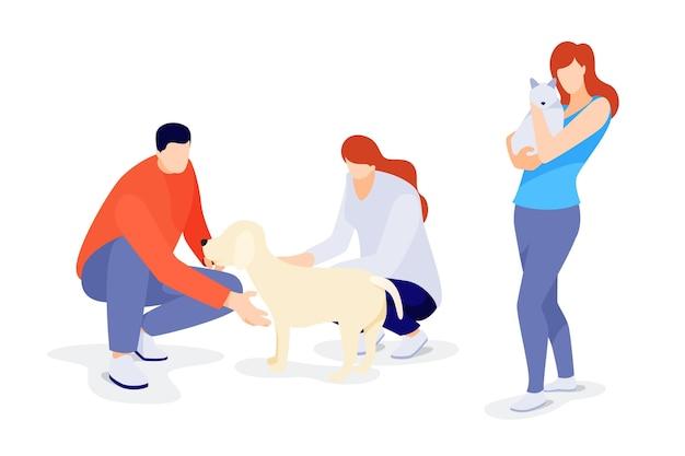 Illustration plate des personnes avec des animaux domestiques