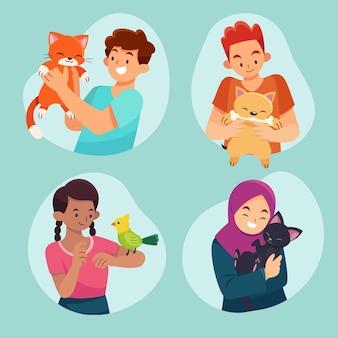 Illustration plate de personnes avec des animaux domestiques