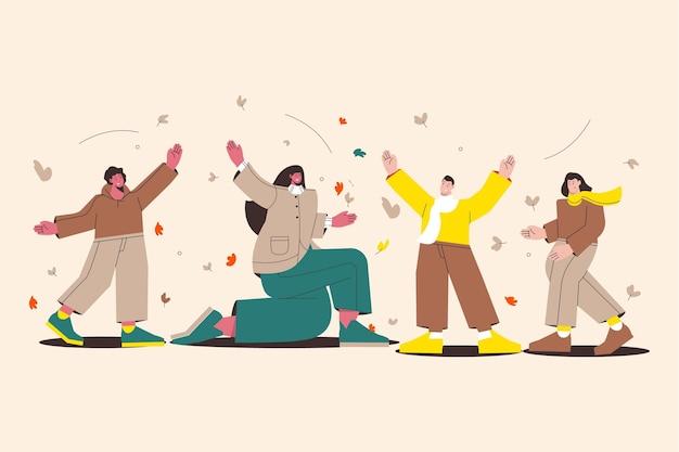 Illustration plate de personnes bénéficiant d'un temps d'automne