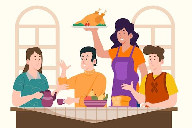 Illustration plate de personnes célébrant l'action de grâces