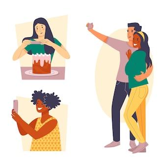 Illustration plate de personnes prenant des photos avec un smartphone