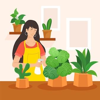 Illustration plate de personnes prenant soin des plantes