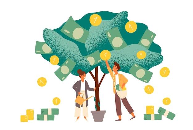 Illustration plate de profit investissement commercial. métaphore des revenus et des revenus