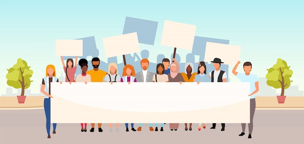 Illustration plate de protestation de rue. unité dans la diversité. mouvement social, manifestation. activistes multiculturels, manifestants tenant des personnages de dessins animés de bannières vierges. événement de protection des droits de l'homme