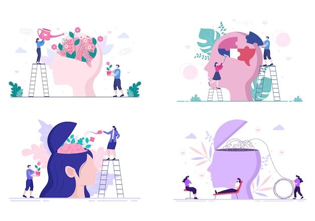 Illustration plate de psychologie de la santé mentale