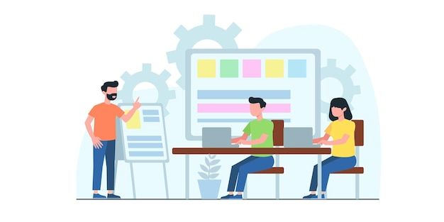 Illustration plate de réunion d'affaires. concept de workflow d'entreprise, gestion du temps, planification, application de tâche, travail d'équipe. design plat créatif pour bannière web, matériel marketing, présentation d'entreprise