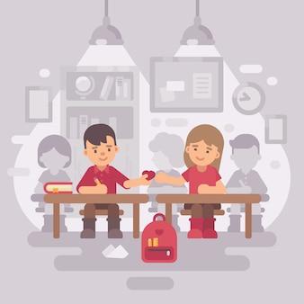 Illustration plate de scène en classe école
