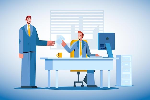 Illustration plate de scène de jour de travail