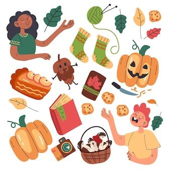 Illustration plate de scènes et d'objets d'automne