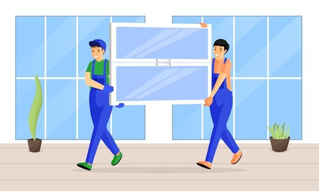 Illustration plate de service de remplacement de fenêtre. courriers gais transportant de nouveaux personnages de dessins animés de vitre. les constructeurs, les experts en installation apportent un vitrage à l'appartement