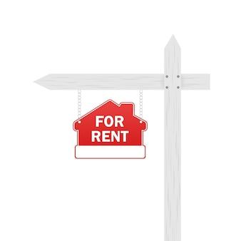 Illustration plate avec signe de maison à vendre rouge