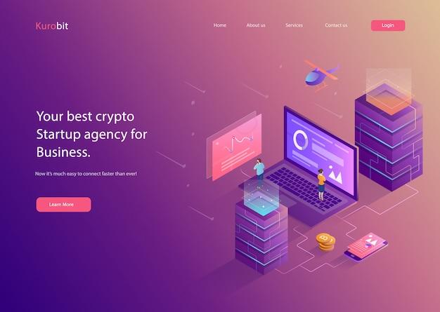 Illustration plate de site web crypto