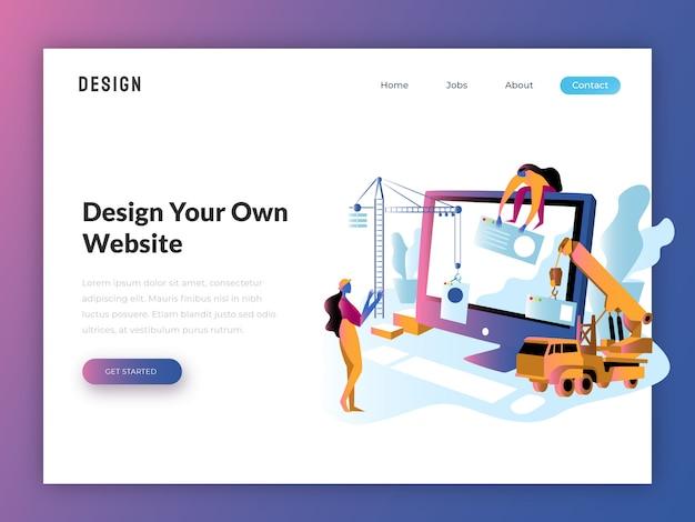 Illustration plate de site web pour développeur web