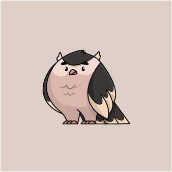 Illustration plate somnolent hibou mignon