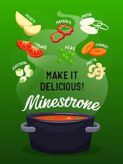Illustration plate de soupe de légumes tranchés entiers