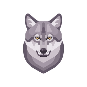 Illustration plate de tête de loup. icône de visage d'animal sauvage