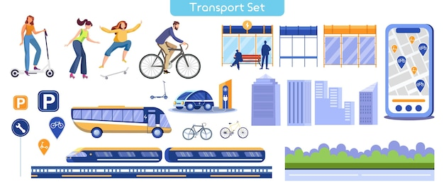 Illustration plate de transport de la ville. différents transports publics