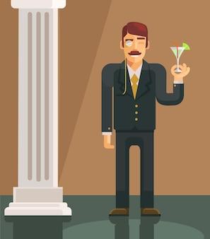 Illustration plate de vecteur gentleman