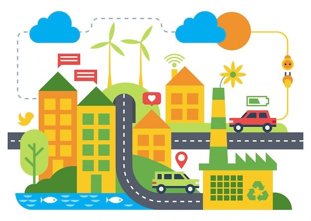 Illustration plate de ville intelligente